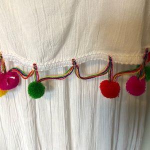 Boohoo Dresses - NWT Boohoo Maxi Dress White Pom Poms US 4 UK 8